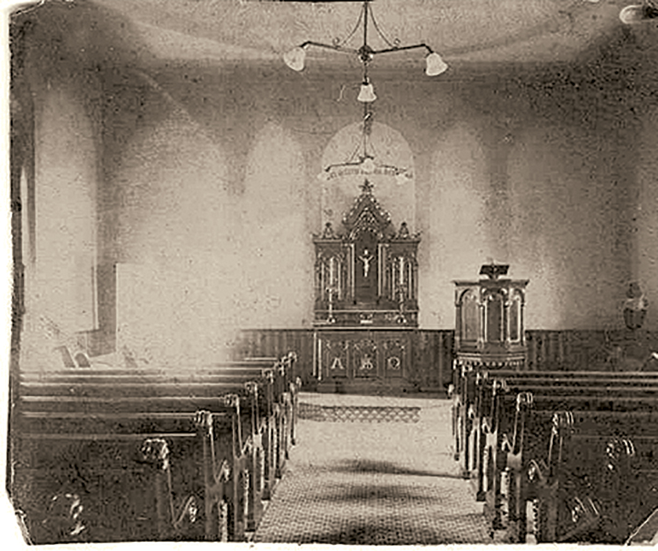 Interior of Meeting House, early twentieth century (Image courtesy of St. John United Church of  Christ, Naperville)