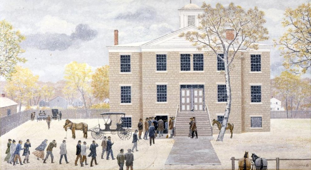 Painting of Naper Academy building by Les Shrader