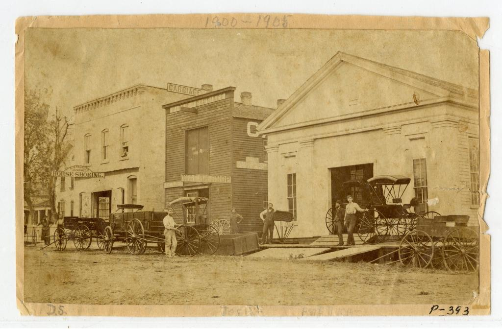 Strubler blacksmith shop and Napervillecarriage manufacturer on Washington Sreet, circa 1890s