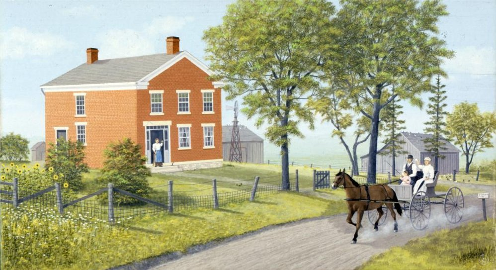 Painting by Les Schrader of horse-drawn carriage passing in front of the Halfway House farmhouse