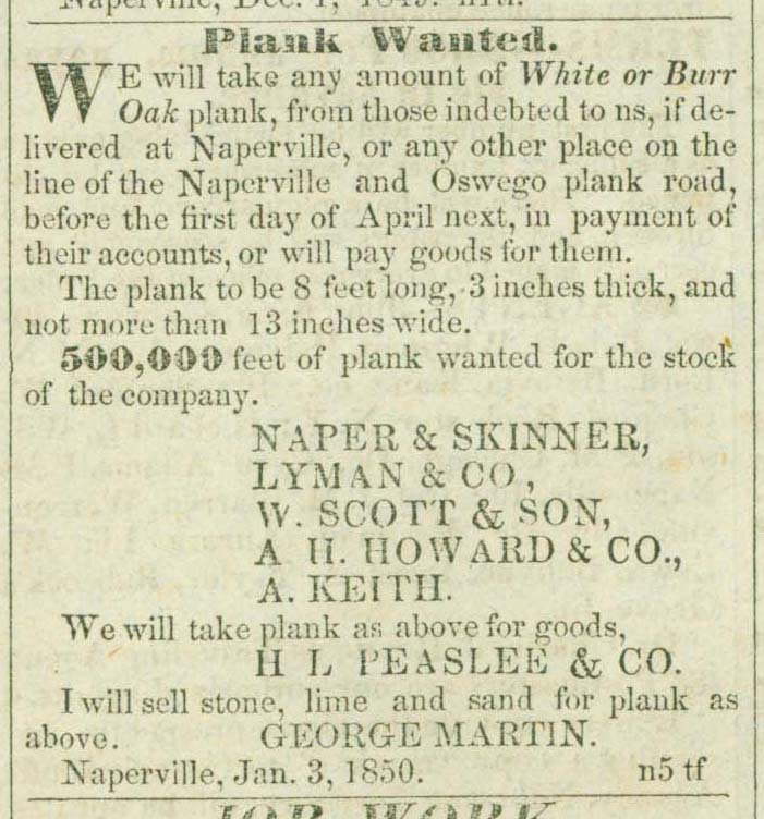 Newspaper advertisement for lumber to build plank road, published in 1850