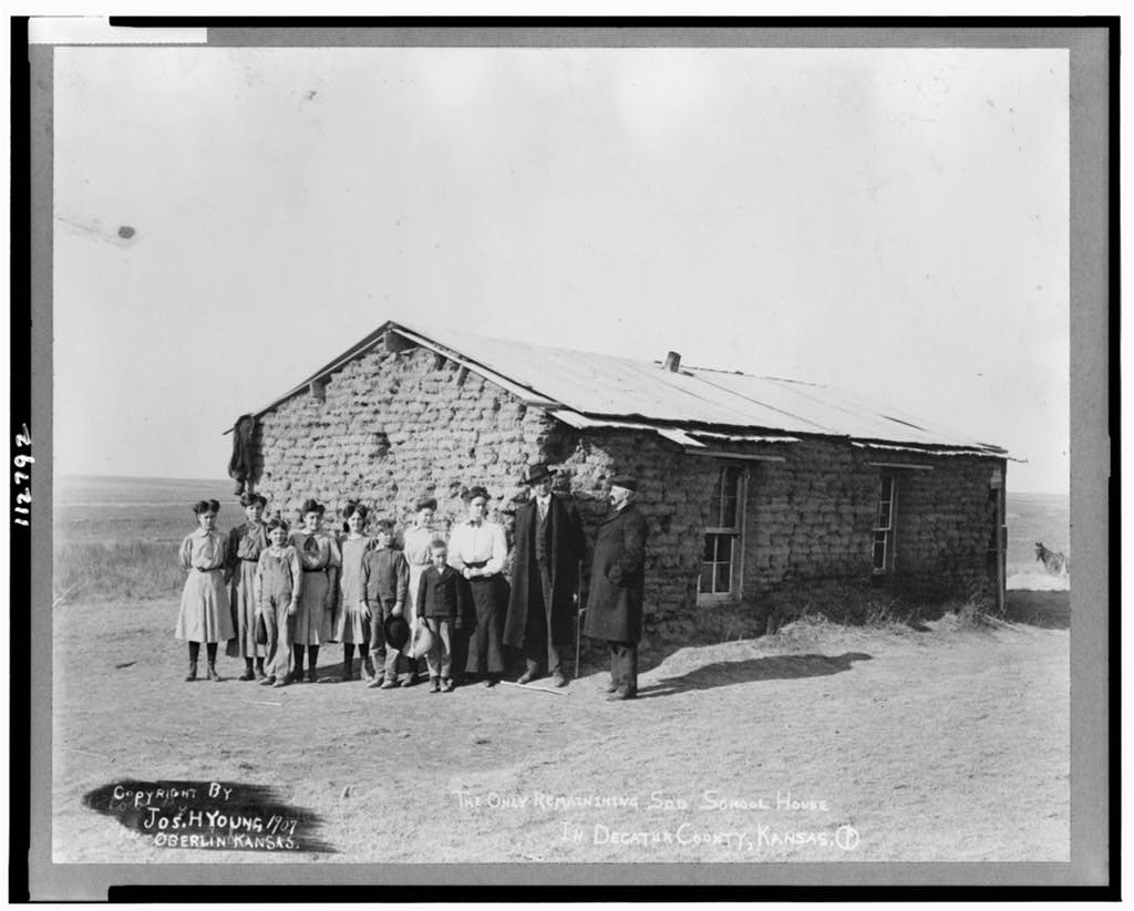 Sod one room schoolhouse, Decatur County, Kansas, early 20th century